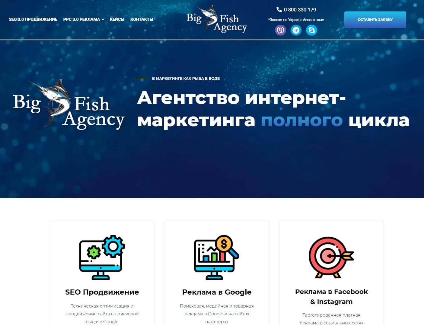 Big Fish Agency - обзор компании, услуги, отзывы, клиенты   Google SEO, Фото № 1 - google-seo.pro